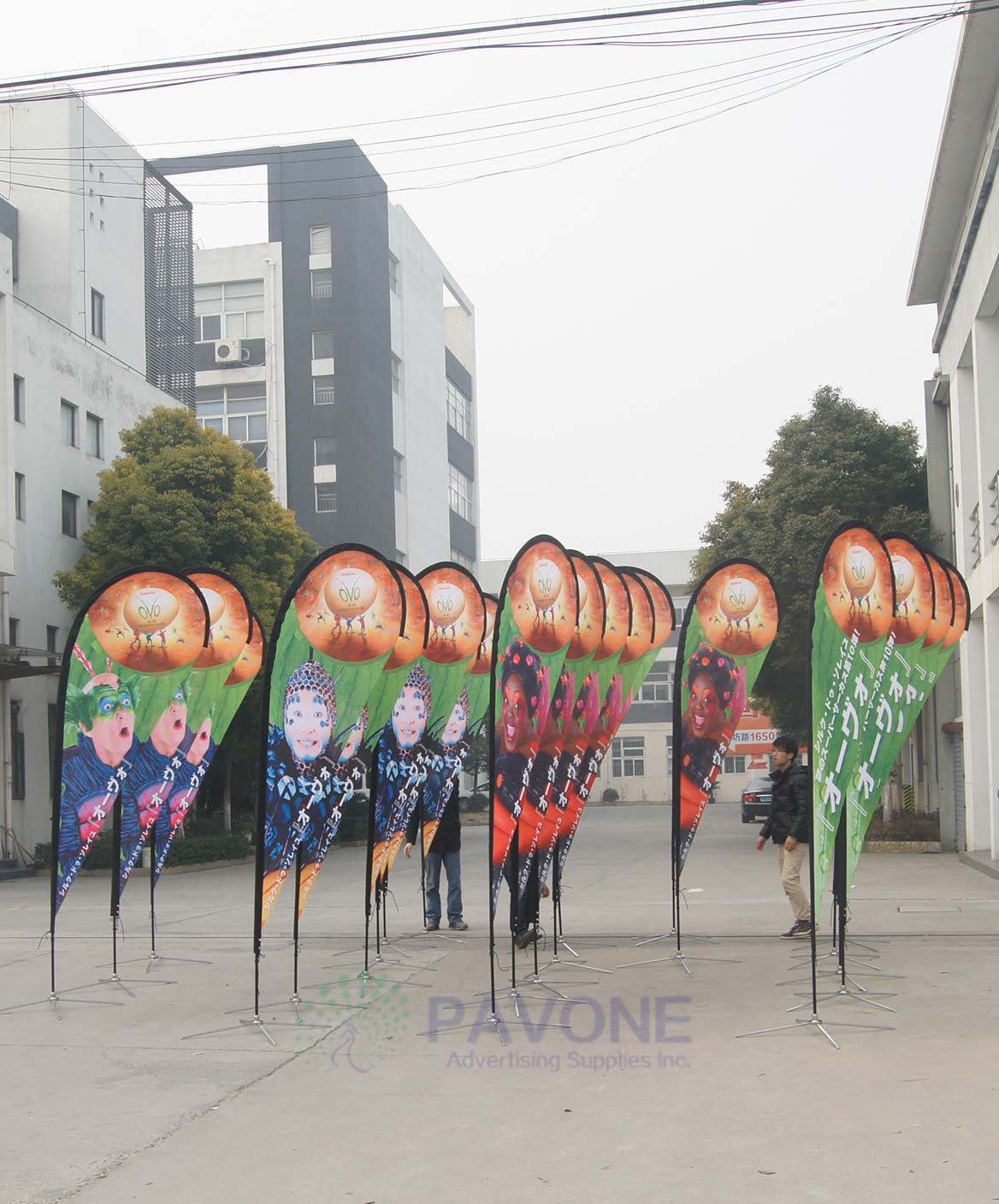 Teardrop feather flags for a Japanese customer