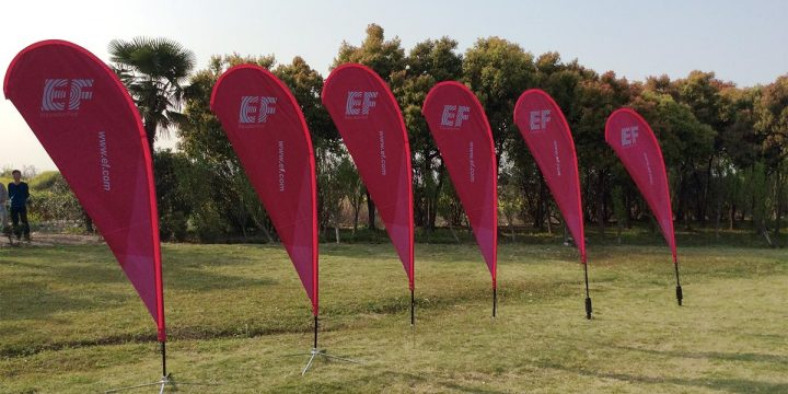 Custom teardrop flags for EnglishFirst School