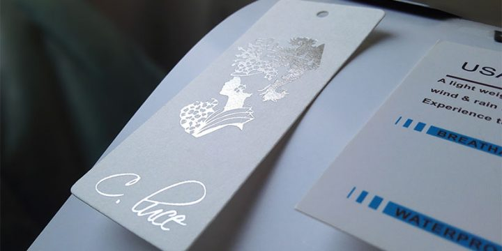 Hand tags with hot foil and spot UV